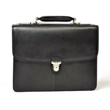 Green Bella Verona Double Gusset Leather Laptop Briefcase