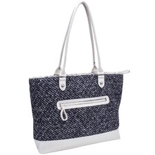 Allie Quilted Fabric with Croco Faux Leather Tote
