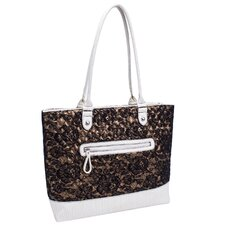 <strong>Parinda</strong> Allie Quilted Fabric with Croco Faux Leather Tote Bag