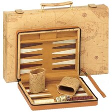 Travel Map Backgammon in Tan