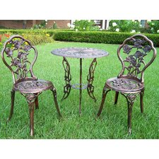 <strong>Oakland Living</strong> Rose 3 Piece Bistro Set