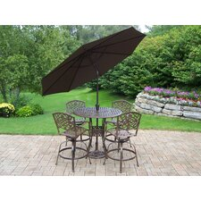 Elite Mississippi 5 Piece Swivel Bar Height Set with Umbrella