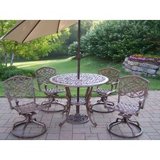 <strong>Oakland Living</strong> Mississippi Swivel Dining Set with Umbrella