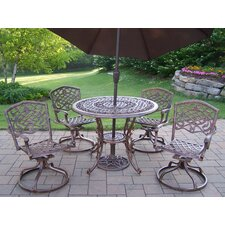<strong>Oakland Living</strong> Mississippi 5 Piece Swivel Dining Set with Umbrella