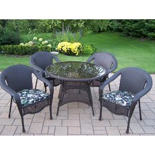 <strong>Oakland Living</strong> Elite Resin Wicker Dining Set with Cushions