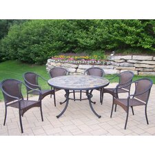 <strong>Oakland Living</strong> Tuscany Stone Art 7 Piece Dining Set