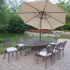 Mississippi Oval Dining Set with Cushions and Umbrella
