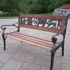 Animal Kiddy Wood and Cast Iron Park Bench