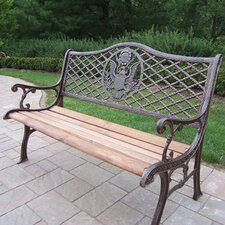 American Eagle Wood and Cast Iron Park Bench