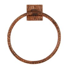 """10"""" Wall Mounted Hand Hammered Copper Towel Ring"""
