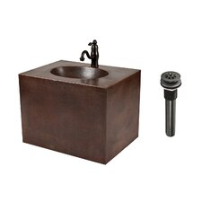 "25"" Single Hand Hammered Copper Wall Mount Bathroom Vanity Set"
