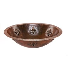 Oval Fleur De Lis Undermount Hammered Copper Sink