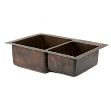 "33"" x 22"" Hammered 60/40 Double Bowl Kitchen Sink"