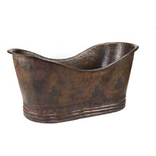 "<strong>Premier Copper Products</strong> 67"" x 32"" Hammered Copper Double Slipper Tub"