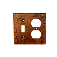 <strong>Premier Copper Products</strong> Copper Combination Switchplate, 2 Hole Outlet and Single Toggle Switch in Oil Rubbed Bronze