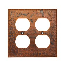 Copper Switchplate Double Duplex, 4 Hole Outlet Cover in Oil Rubbed Bronze