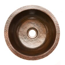 "<strong>Premier Copper Products</strong> 14"" x 14"" Round Hammered Copper Bar Sink"