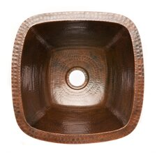 "15"" x 15"" Square Hammered Copper Bar Sink"