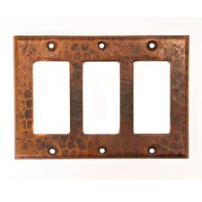 Copper Switchplate Triple Ground Fault / Rocker Cover GFI in Oil Rubbed Bronze