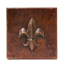 "4"" x 4"" Copper Fleur De Lis Tile in Oil Rubbed Bronze"