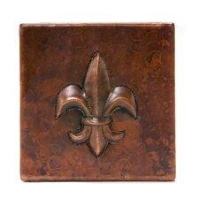 """4"""" x 4"""" Copper Fleur De Lis Tile in Oil Rubbed Bronze"""