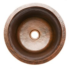 Round Hammered Copper Bar Bathroom Sink