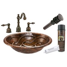 <strong>Premier Copper Products</strong> Braid Self Rimming Hammered Bathroom Sink