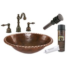 <strong>Premier Copper Products</strong> Roped Rim Self Rimming Hammered Bathroom Sink