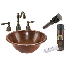 <strong>Premier Copper Products</strong> Self Rimming Hammered Bathroom Sink