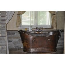 "67"" x 34"" Hammered Copper Double Slipper Tub"