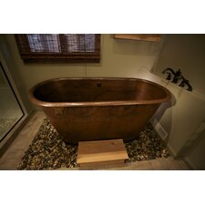 "72"" x 28"" Hammered Copper Modern Slipper Tub"