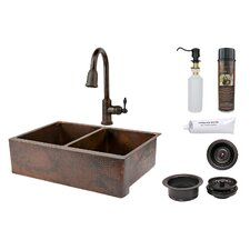 "<strong>Premier Copper Products</strong> 33"" x 22"" Hammered Apron Kitchen Sink"