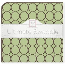 Ultimate Receiving Blanket® in Pastel Lime with Brown Mod Circles