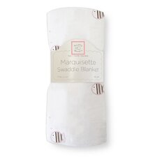 Marquisette Swaddling Blanket in Pastel Pink and Mocha Striped Fish
