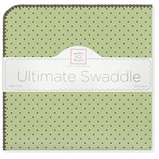 Ultimate Receiving Blanket® in Pastel Lime with Brown Polka Dots