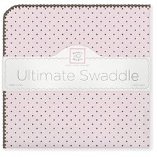 Ultimate Receiving Blanket® in Pastel Pink with Brown Polka Dots