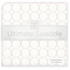 Organic Ultimate Receiving Blanket® in Pastel Pink with Mod Circles on Ivory