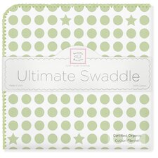 Organic Ultimate Receiving Blanket®  in Kiwi Dots and Stars with Pastel Trim