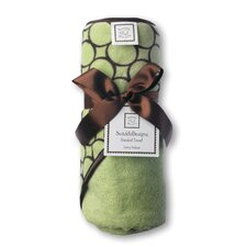 <strong>Swaddle Designs</strong> Terry Velour Hoodie Towel in Pastel Lime with Brown Mod Circles
