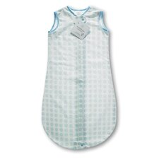 Certified Organic Cotton Flannel zzZipMe Sack in Pastel Blue with Dots and Stars