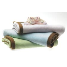 Cashmere Blanket in Pastel with Mocha Trim