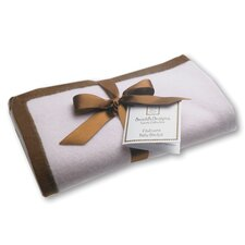 Cashmere Blanket in Pastel Pink with Mocha Trim