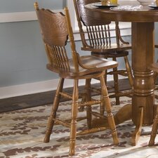 Nostalgia Casual Dining Press Back Barstool in Medium Oak