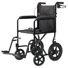 "Aluminum 19"" Ultra Lightweight Transport Wheelchair with Rear Cable Hand Brakes"