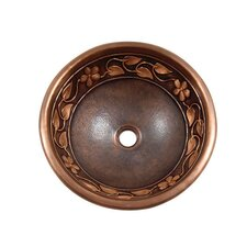 Flower and Vine Design Topmount Round Vessel Bathroom Sink