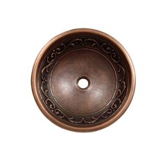 Vine Design Topmount Round Vessel Bathroom Sink