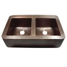 "34.75"" x 22"" Hammered Double Bowl Rectangular Farmhouse Kitchen Sink"