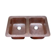 "34.75"" x 22"" Hammered Double Bowl Undermount or Topmount Kitchen Sink"