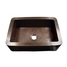 "33"" x 22"" Hammered Single Bowl Rectangular Farmhouse Kitchen Sink"