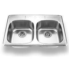 "33"" x 22"" Topmount Double Bowl Kitchen Sink"